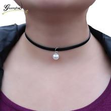 1PCS Imitate Pearl Pendant Necklace Jewelry Decorative Female Short Neck Chain Of Clavicle Choker Bijoux Vintage Accessories