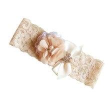 Комплект свадебной подвязки из 2 предметов для невесты, коричневая кружевная эластичная подвязка, стразы, винтажная подвязка