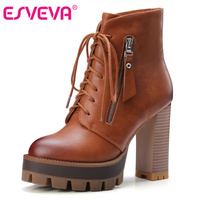 ESVEVA 2016 Lace Up Western Style Women Boots Platform PU Autumn Shoes Thick High Heel Winter