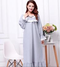 Плюс размер утолщение отшлифовать хлопка с длинными рукавами сверхдальние ночная рубашка женская весна осень королевская принцесса пижамы pijama AW309