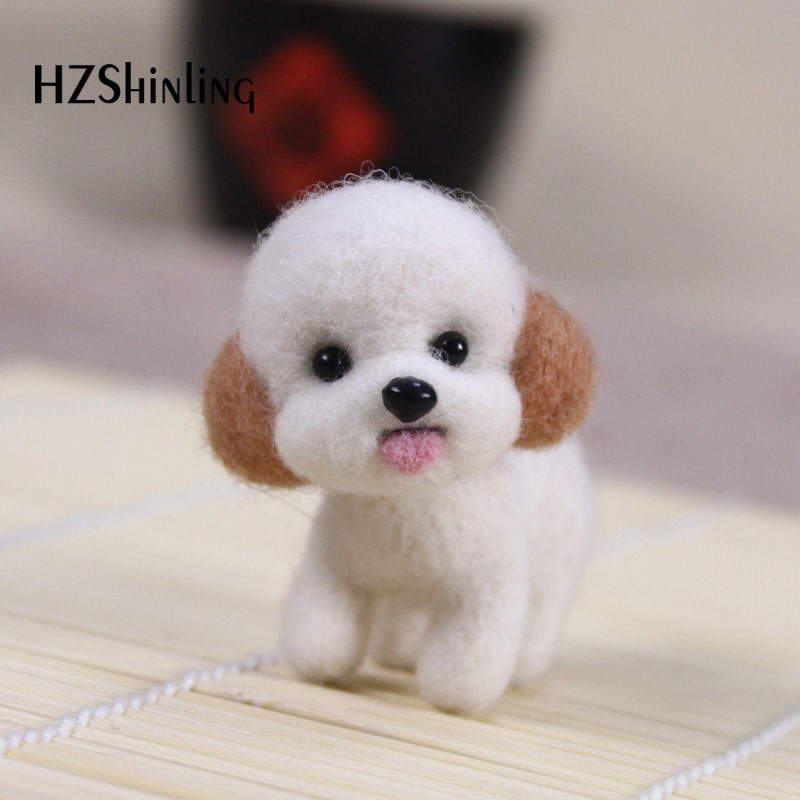 Fashion Women Summer Craft Handmade Lovely Dog Toy Doll Wool Felt Poked Kitting DIY Cute Animal Wool Felting Non-Finished