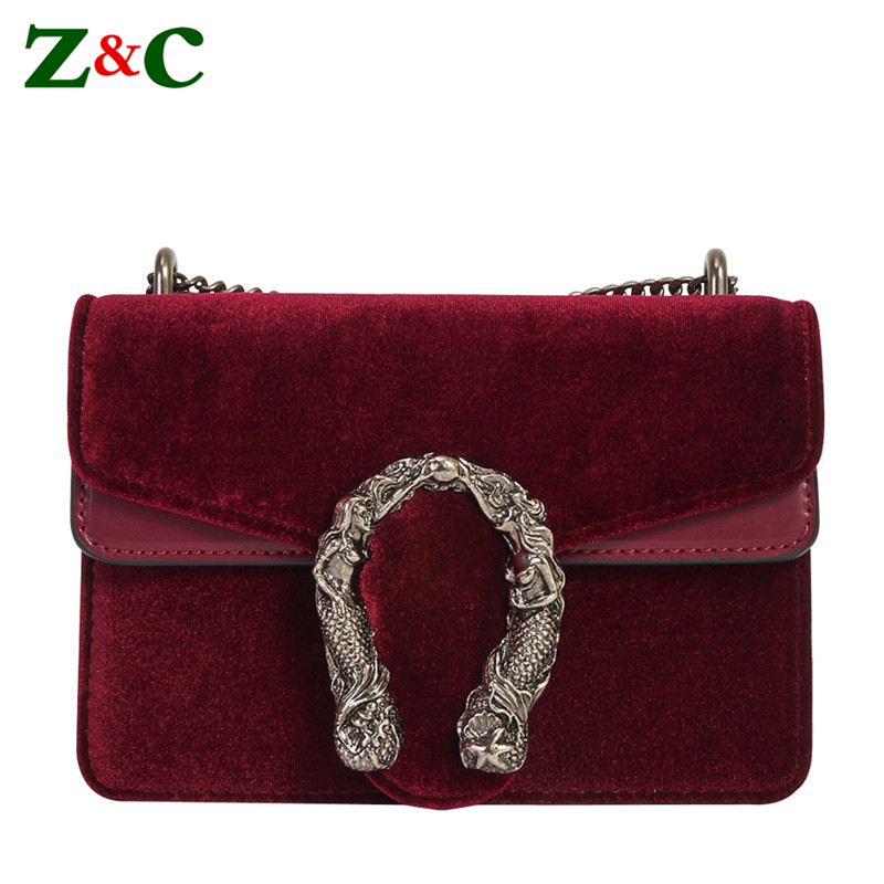 Luxury Brand Fashion Chain Casual Shoulder Bag Messenger Bag Famous Designer Velvet Leather Women Crossbody Bag Clutch Purse Sac
