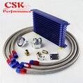 13 ряд 262 мм AN10 Универсальный двигатель трансмиссия масляный радиатор Trust Тип + фильтр адаптер Комплект Серебряный/синий