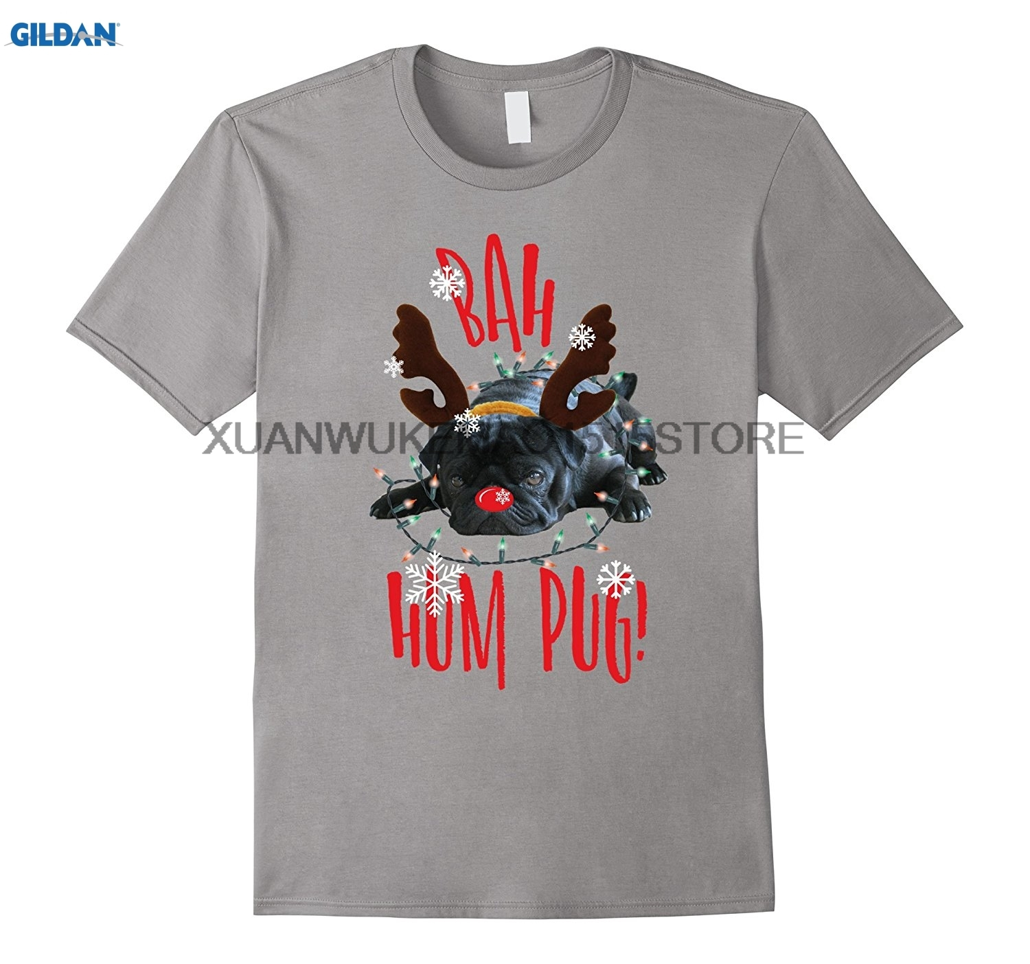 GILDAN T-shirt Bah Hum Pug Black Pug Lovers Christmas T shirt