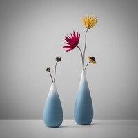 Cabinet Flower Vase Decor Design Ceramic Vase Color Changing Sky Blue Vase Contemporary Garden Vase