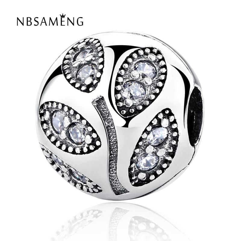 Authentische 925 Sterling Silber Perle Charme Kristall Blätter Stopper Sicherheitsschloss Perlen Pandora...