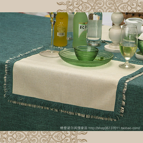 Fashion brief fashion table linen placemat linen table cloth set green series 14 customize