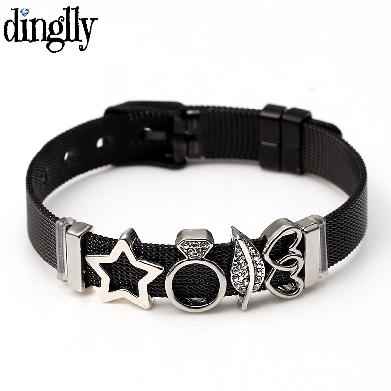 DINGLLY Black Stainless Steel Mesh Bracelets For Women Men Charm Beads Watch Chain Adjustable Bracelet Bangle Jewelry Gifts(China)