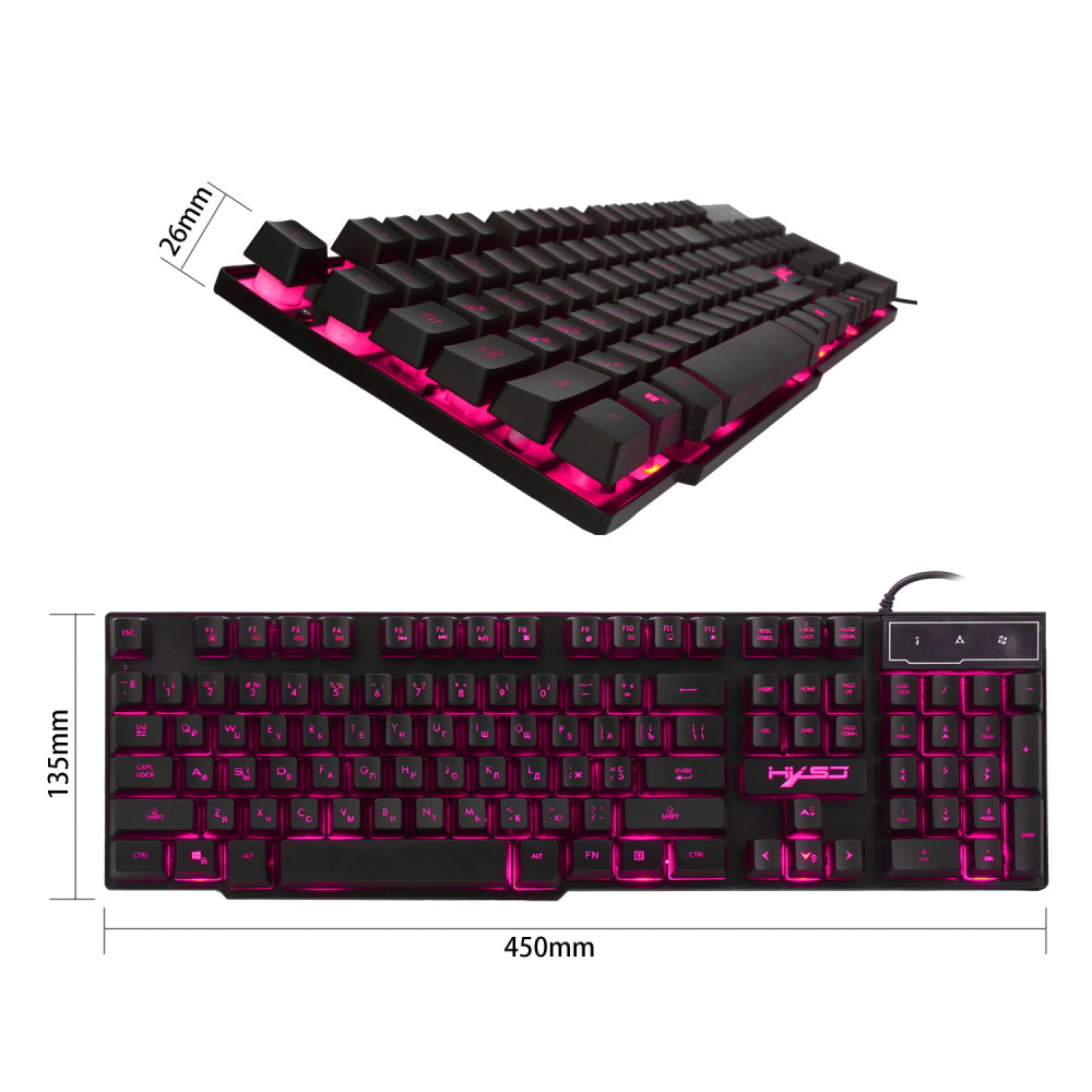 Image 3 - HXSJ R8 Russian/English USB Wired Gaming Keyboard Floating LED 3 color Backlit Keyboard with Similar Mechanical Feel For Teclado-in Keyboards from Computer & Office
