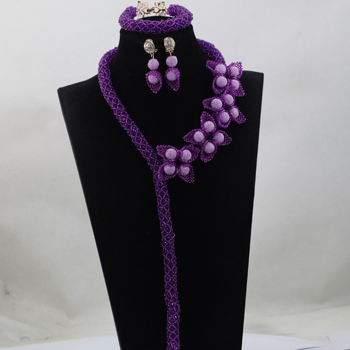 Charming Purple Nigerian Wedding Jewellery Set African Crystal Costume Beads Gift for Women Celebration Party Free Ship QW382 charming sequins beads anklet for women