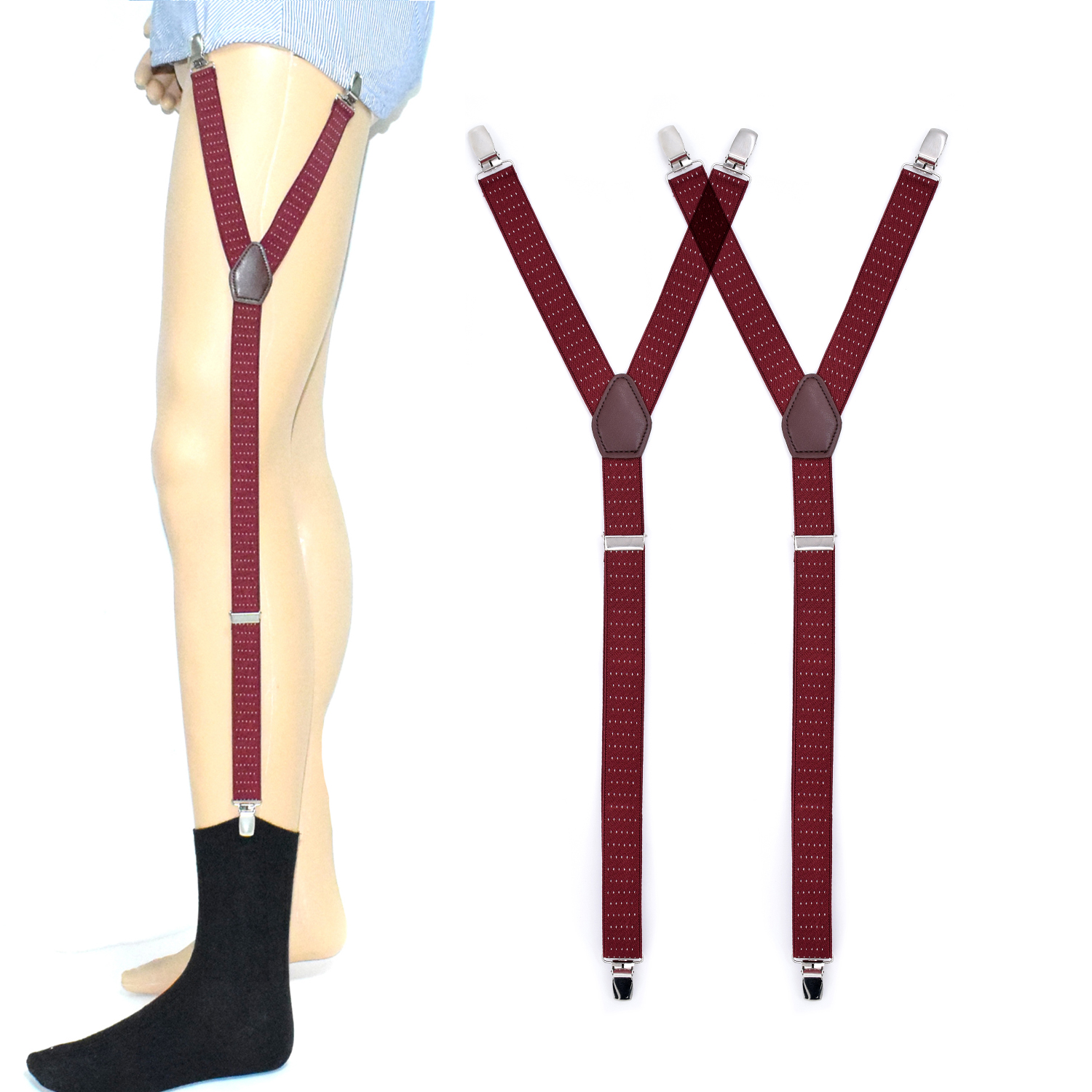 Mens Shirt Stays Y Style Adjustable Shirt Holders Sock Garters Leg Suspenders Straps For Men Police Military Burgundy Color