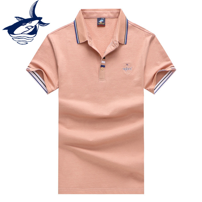 Tace Shark Solid Color Patchwork Breathable Cotton   Polo   Shirt Casual Short Sleeve   Polo   Men Cotton Mens Top Tees Summer Clothing