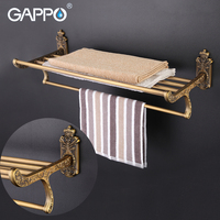 GAPPO Zinc Alloy Bathroom Shelves Wall Mount Towel Hanger Stainless Steel Shelf Holder Double Layer Storage