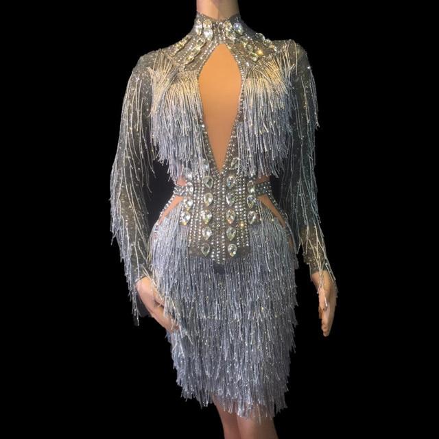 Nightclub Birthday Party Wear Dancer Singer Costumes Women Sexy Net Yarn Bodysuit Silver Tassel Sparkling Crystals Jumpsuit