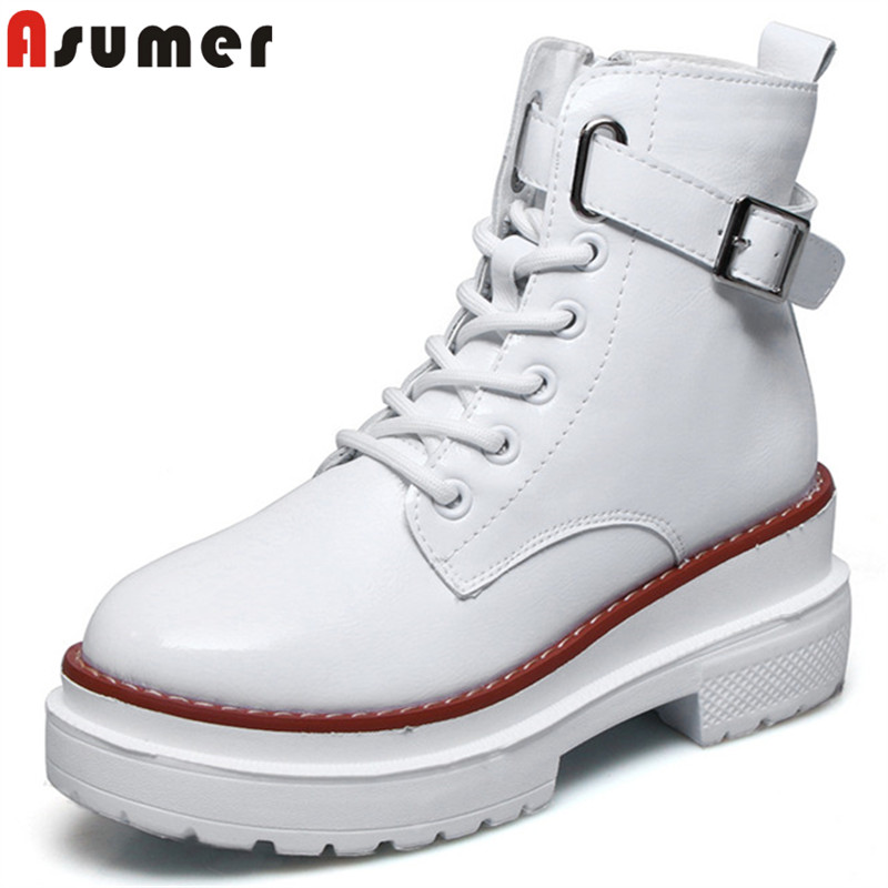 ASUMER 2018 hot sale new ankle boots for women round toe zip genuine leather boots platform autumn winter boots classic shoes asumer 2017 hot sale round toe square high heels women ankle boots restoring flock leather platform boots autumn winter shoes