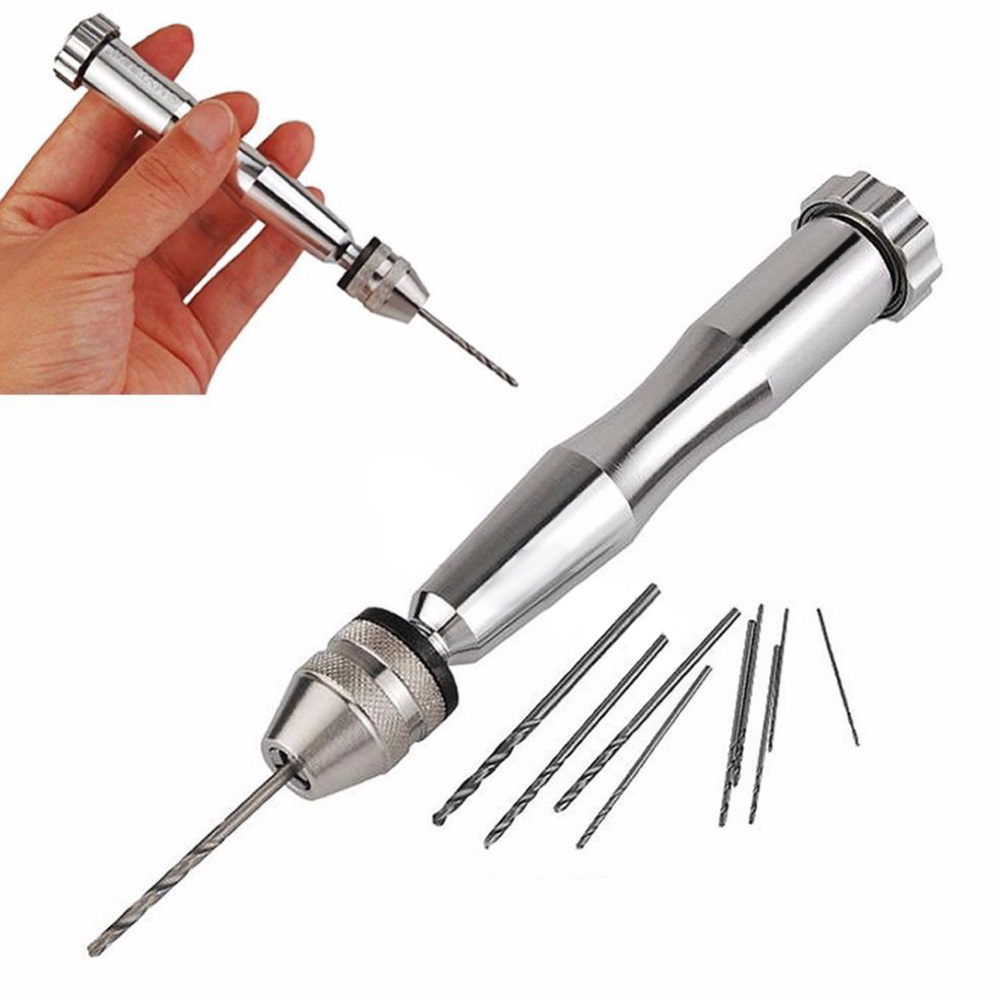 High Quality Mini Micro Aluminum Hand Drill With Keyless Chuck +10 Twist Drills Rotary Tools Wood Drilling new 10pcs jobbers mini micro hss twist drill bits 0 5 3mm for wood pcb presses drilling dremel rotary tools