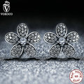 Original 925 Sterling Silver Dazzling Daisy Flower Stud Earrings Compatible with VRC Women Fashion Jewelry AS434