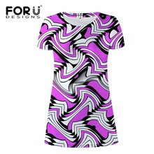 FORUDESIGNS Wholesale Funny Mixed Color Beach Dress Woman Ladies Girls T shirt Dresses Casual Clothes Slim Pencil S M L XL