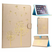Cute Flower Printings PU Leather Case Smart Cover for iPad Air 2 Flip Magnetic Wallet Case for iPad Air 2 iPad 6 with Card Slots