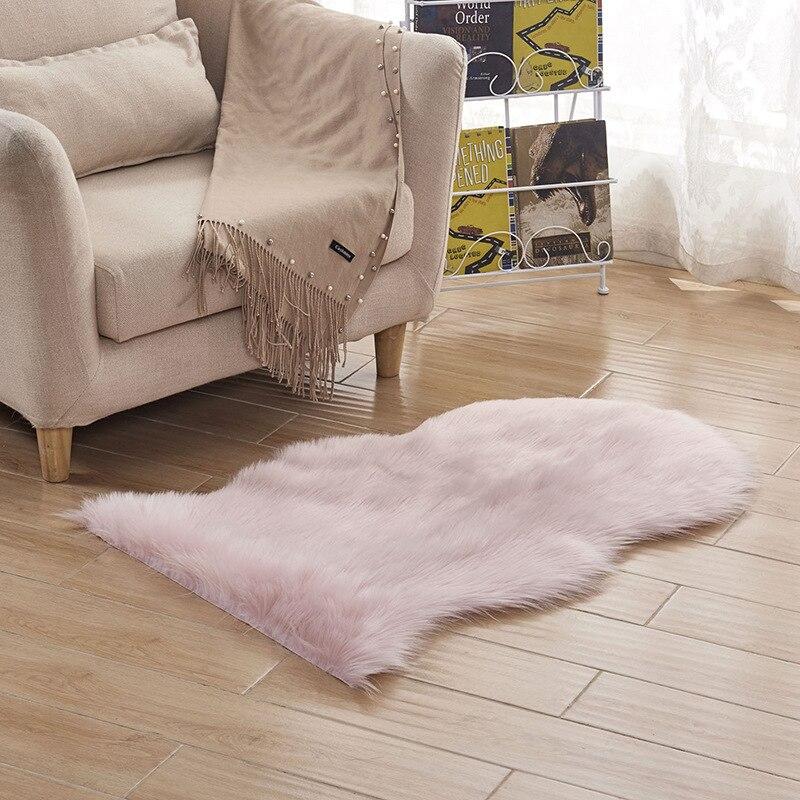Washable Long Shiny Fur Sheepskin Soft Carpet Huge Shaggy Floor Irregular Carpet