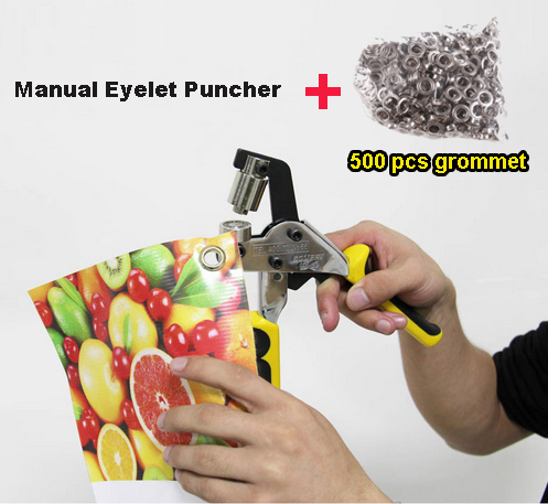 Portable Manual Eyelet Puncher + 4# Silver Iron Buttonhole 500set/pack Hand Press Puncher Grommet Punching Tool for Flex Banner metal manual grommet press machine 6 8 10mm die mould 3 000 1000x3 eyelet supplies making banner flag