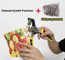Portátil Manual de Ojal Ojal Golpeador + 4 # Hierro Plata 500 set/pack Mano Herramienta de Perforación para Flex Ojal Prensa Puncher Banner