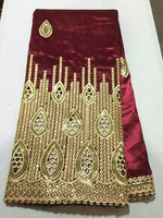 5 Yards/lot Luxury gold sequins decoration lace with wine African george lace fabric for party clothing OG40 1