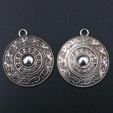Wkoud 4 шт серебряного цвета ретро круглый щит Очаровательная