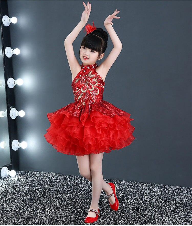 Короткие пышные красивые платья с оборками для маленьких девочек недорогой танцевальный костюм лавандового, красного, желтого цвета платье с блестками для маленьких девочек