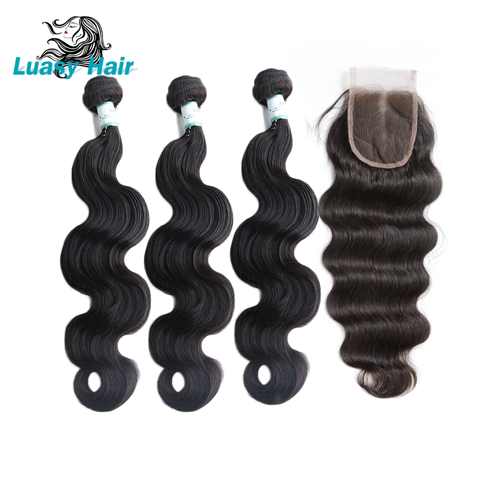 Luasy Brazilian Human Hair Bundles with Closure Body Wave 100% Remy Human Hair Weave 3 Bundles With Lace Closure Natural Color-in 3/4 Bundles with Closure from Hair Extensions & Wigs    1