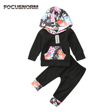 2pcs Hoodie Hooded Sweater Tops+Pants Outfits Set Newborn Baby Girls Autumn Winter Clothes