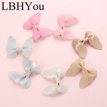 7pcs/lot Cute Sweet Artificial Leather Bows Hairpins,Handmade Pu Butterfly Bow Hair Clip For Girls,School Girls Accessories