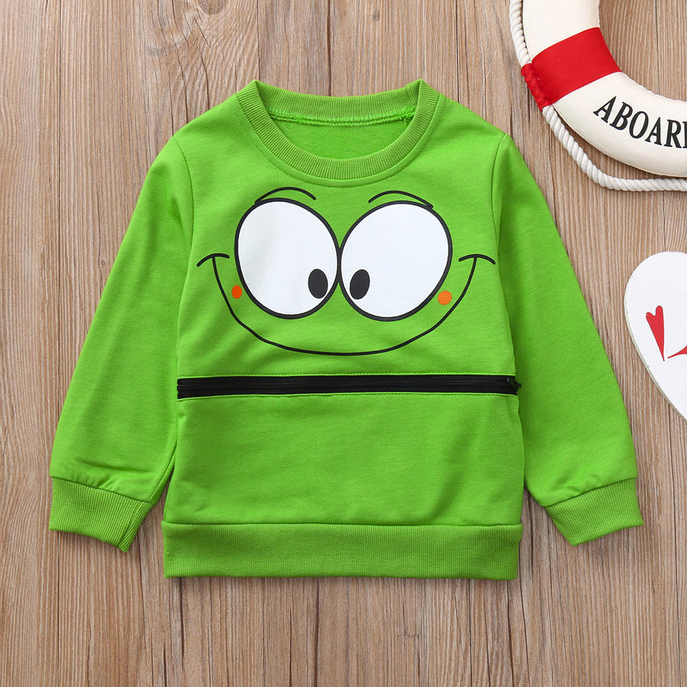 Toddler Baby Girls Boys Long Sleeve Cartoon Eyes Soft Kids Tops Shirt Clothes