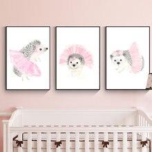 Детские Плакаты для девочек с розовыми и серыми принтами леса
