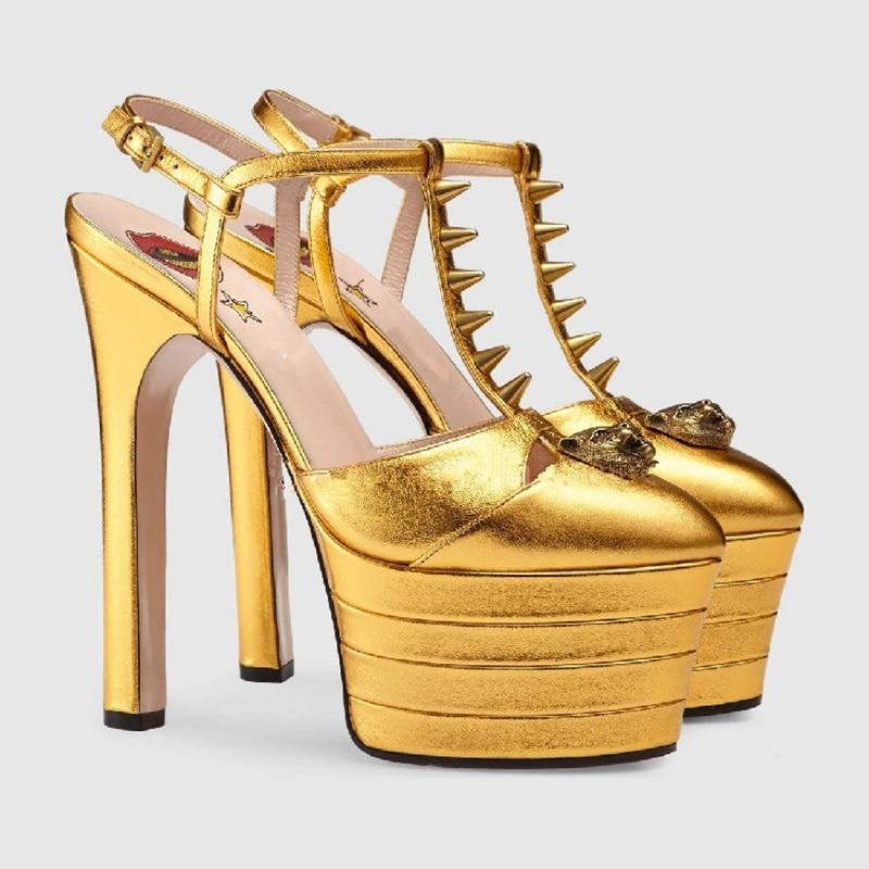 Enmayer Talons Compensées Ouvertes Haute Chaussures Semelles red Sangle Black Femme Ouvert Tendance Gothique Boucle Souliers À Hauts D'été blue Femmes Cr32 gold rwIqrnZF