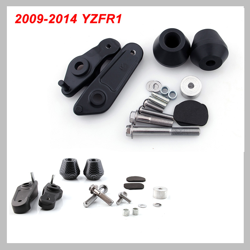 No Cut Frame Slider Pad For 2009 2014 Yamaha YZF R1 YZFR1 YZF R1 2010 2011 Delrin Crash Falling Protection Pad Motorcycle Parts-in Falling Protection from Automobiles & Motorcycles    1