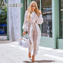 2018 Autumn Women Sexy See Through White Lace Jumpsuits Slim High Waist Casual Long Sleeve Romper Celebrity Club Wear