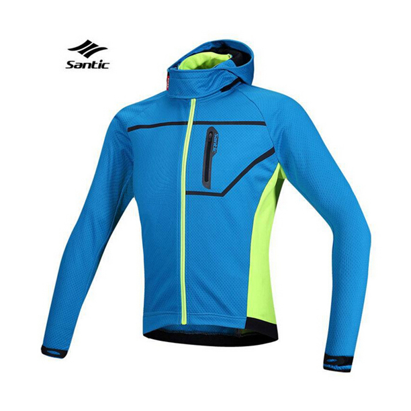 100% Brand blue Santic Thermal Cycling Jacket Composite Carbon Fiber W/ PU Windproof Waterproof MTB Bike Jersey Sports clothing велосипед giant trinity composite 2 w 2014