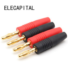 4pcs Nuovo 4 millimetri Spine Placcato Oro Musicale Speaker Cable Wire Spille Spina A Banana Connettori(China)