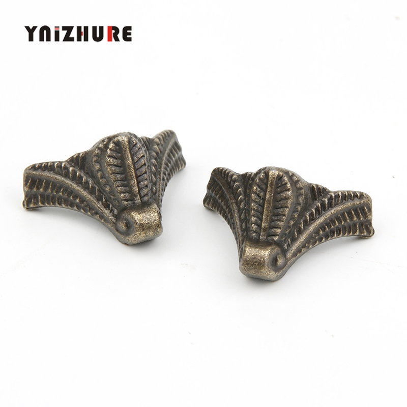 27*16mm 24pcs Vintage Zinc Alloy Jewelry Gift Box Wood Case Deco Carving Corner Protector,Mini Furniture Foot,Bronze Tone