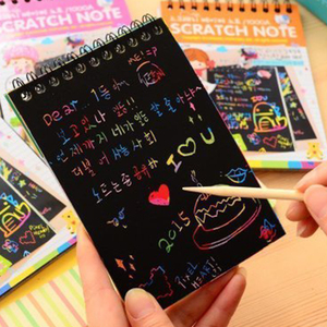 1Pc Notebook Black Cardboard Creative Diy Drawing DIY Sketch Notes For Kids Toy Notebook Material Magic Book School Supplies