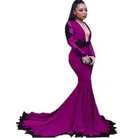 wedding gowns 2018 Women's Deep V Neck Backless Mermaid long dress Prom Party dress with full Sleeves dress
