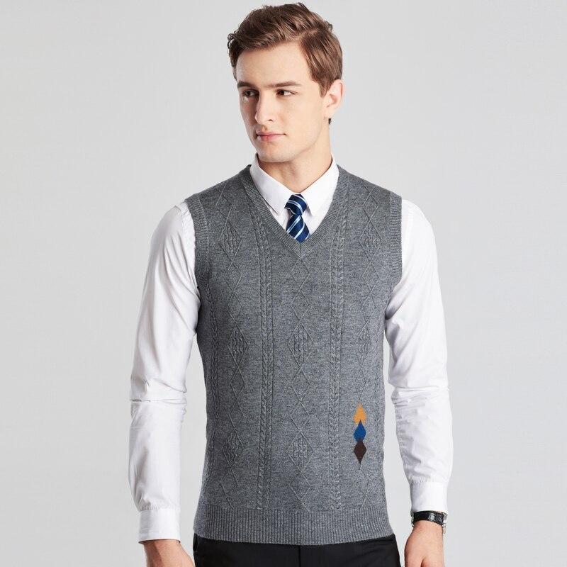 2018 Herren Weste Pullover Pullover Casual Style Wolle Gestrickte Männer Ärmellose Pullover SchüTtelfrost Und Schmerzen