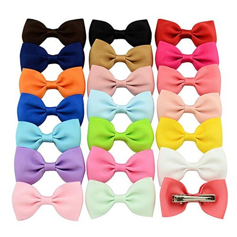 "3.2/"" Hair Bow Clips Grosgrain Ribbon Boutique bows For Girls Teens Kids 40pcs"