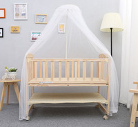 Cradle bed multi functional baby beds with roller shaker child bed pine wood crib mosquito net Installation tools