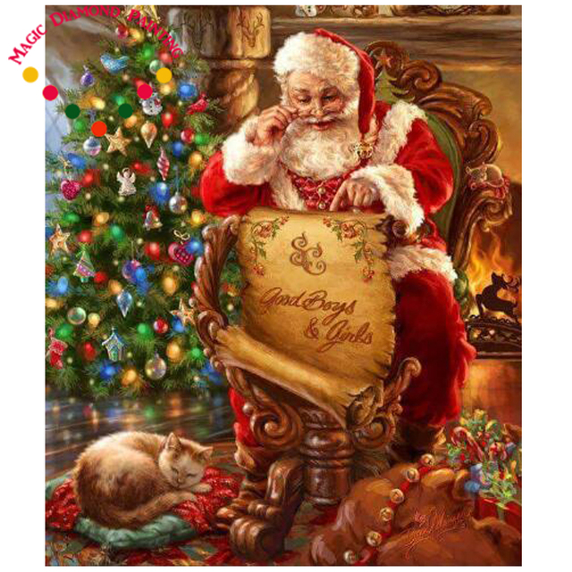 Magic santa looking at the map 5d diy diamond painting crystal magic santa looking at the map 5d diy diamond painting crystal diamond embroidery diy crystal painting m4hsunfo Images