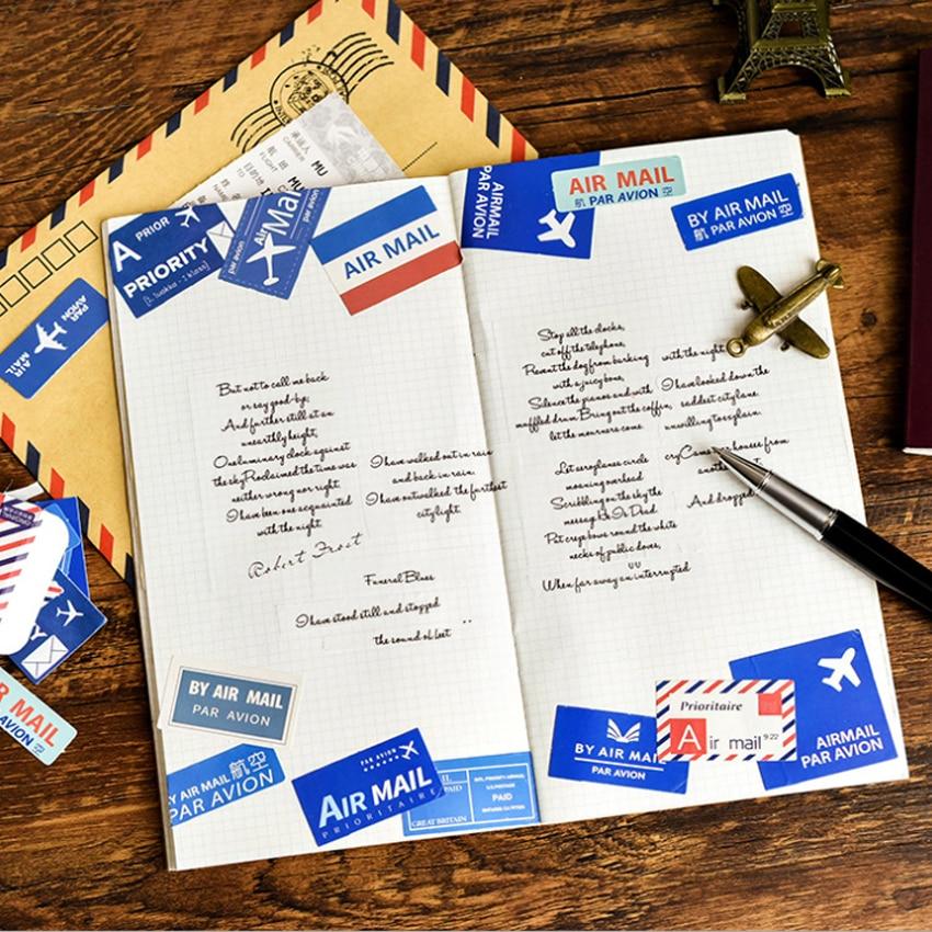 Купить с кэшбэком 45pcs/pack Vintage Air Mail Decorative Adhesive Memo Sticky Diary Stickers Scrapbooking Stationery Sticker Student Supplies