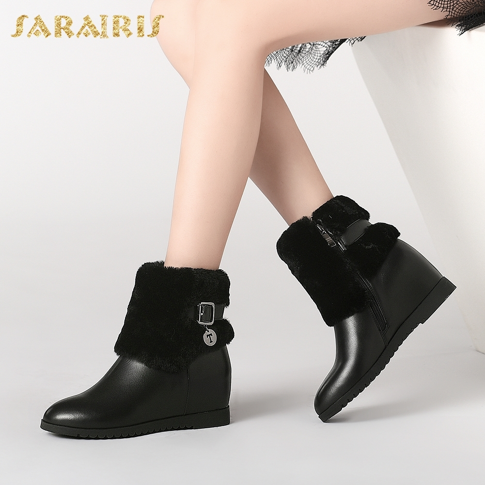 SARAIRIS 2018 New Fashion Cow Leather Large Size 34-41 Wholesale Zip Up Ankle Boots Women Shoes Woman Boots FemaleSARAIRIS 2018 New Fashion Cow Leather Large Size 34-41 Wholesale Zip Up Ankle Boots Women Shoes Woman Boots Female