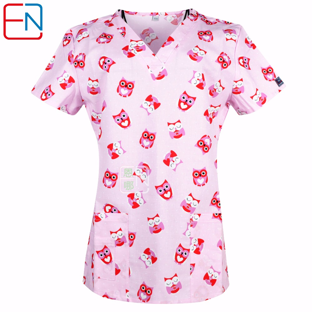 Women Medical Uniforms Nursing Clinic Tops Surgical Print V-Neck Cotton Short Sleeve Scrubs Tops Hospital Uniform For Women