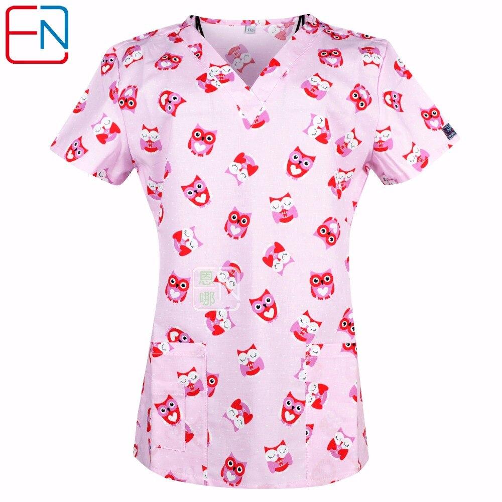 Women Medical Uniforms Nursing Clinic Tops Surgical Print V-Neck Cotton Short Sleeve Scrubs Tops Hospital Uniform For Women